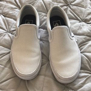Vans Perf Leather Slip-Ons - Size 6 - White